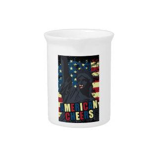 Wellcoda USA Liberty Cheer Smiley face Beverage Pitcher