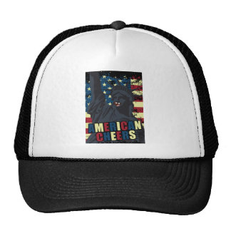 Wellcoda USA Liberty Cheer Smiley face Cap