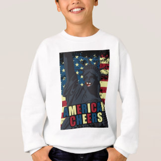 Wellcoda USA Liberty Cheer Smiley face Sweatshirt