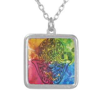 Wellcoda Vibrant Indian Symbol Asian Life Silver Plated Necklace
