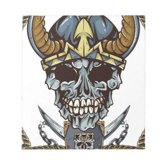 Wellcoda Viking Pirate Skull Skalp Head Notepad