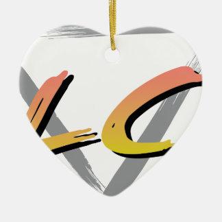 Wellcoda Vintage Apparel Style Triangle Ceramic Heart Decoration