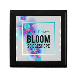 Wellcoda Where Flowers Bloom There's Hope Small Square Gift Box