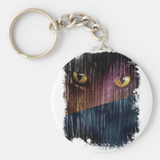 Wellcoda Wild Animal Kitten Galaxy Cat Basic Round Button Key Ring