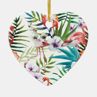 Wellcoda Wild Flamingo Life Paradise Bird Ceramic Heart Decoration