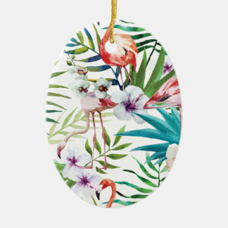 Wellcoda Wild Flamingo Life Paradise Bird Ceramic Oval Decoration