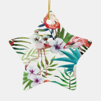 Wellcoda Wild Flamingo Life Paradise Bird Ceramic Star Decoration