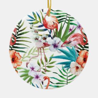 Wellcoda Wild Flamingo Life Paradise Bird Round Ceramic Decoration