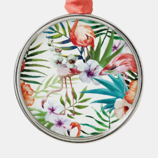Wellcoda Wild Flamingo Life Paradise Bird Silver-Colored Round Decoration