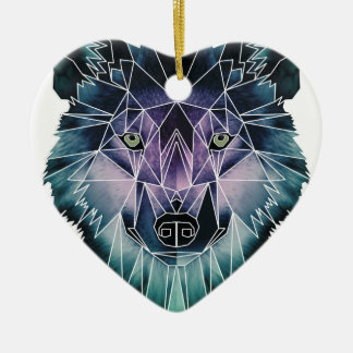 Wellcoda Wild Wolf Face Pack Animal Life Ceramic Heart Decoration