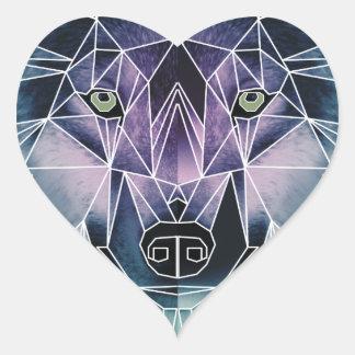 Wellcoda Wild Wolf Face Pack Animal Life Heart Sticker