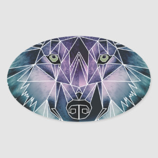 Wellcoda Wild Wolf Face Pack Animal Life Oval Sticker