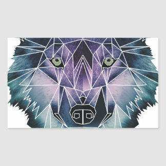 Wellcoda Wild Wolf Face Pack Animal Life Rectangular Sticker