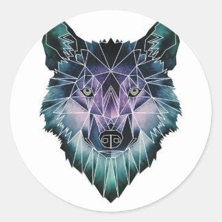 Wellcoda Wild Wolf Face Pack Animal Life Round Sticker
