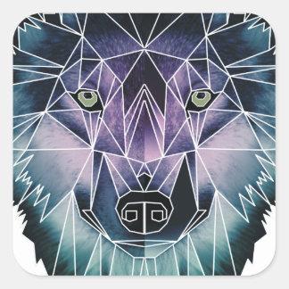 Wellcoda Wild Wolf Face Pack Animal Life Square Sticker