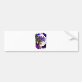 Wellcoda Wild Wolf Moon Earth Animal Face Bumper Sticker