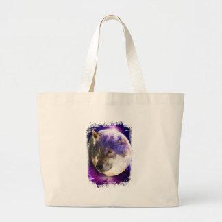 Wellcoda Wild Wolf Moon Earth Animal Face Large Tote Bag