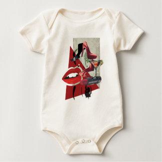 Wellcoda Women Red Lip Fashion Glamour Baby Bodysuit