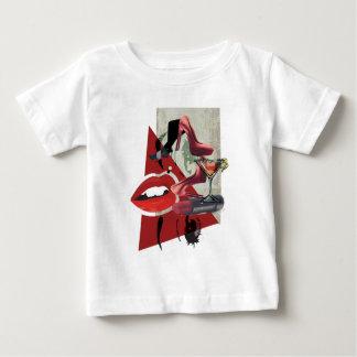 Wellcoda Women Red Lip Fashion Glamour Baby T-Shirt