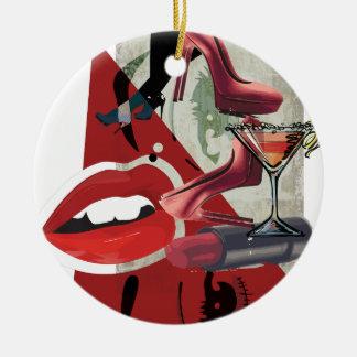 Wellcoda Women Red Lip Fashion Glamour Christmas Ornament