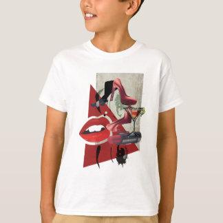 Wellcoda Women Red Lip Fashion Glamour T-Shirt