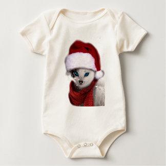 Wellcoda Xmas Cute Kitten Cat Santa Claus Bodysuit