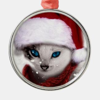 Wellcoda Xmas Cute Kitten Cat Santa Claus Christmas Ornament