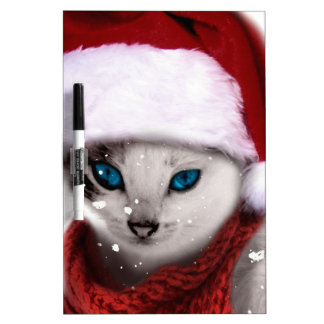 Wellcoda Xmas Cute Kitten Cat Santa Claus Dry Erase Board