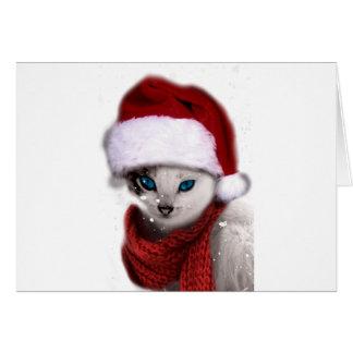 Wellcoda Xmas Cute Kitten Cat Santa Claus Greeting Card