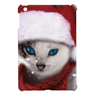 Wellcoda Xmas Cute Kitten Cat Santa Claus iPad Mini Covers