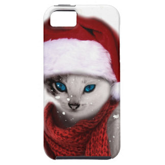 Wellcoda Xmas Cute Kitten Cat Santa Claus iPhone 5 Case