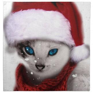 Wellcoda Xmas Cute Kitten Cat Santa Claus Napkin