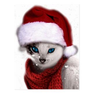 Wellcoda Xmas Cute Kitten Cat Santa Claus Postcard
