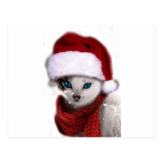 Wellcoda Xmas Cute Kitten Cat Santa Claus Postcard