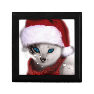 Wellcoda Xmas Cute Kitten Cat Santa Claus Small Square Gift Box