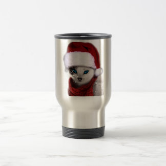 Wellcoda Xmas Cute Kitten Cat Santa Claus Travel Mug
