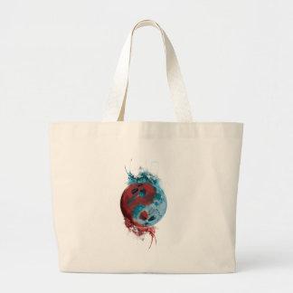 Wellcoda Yin Yang Skull Earth Planet Fire Large Tote Bag