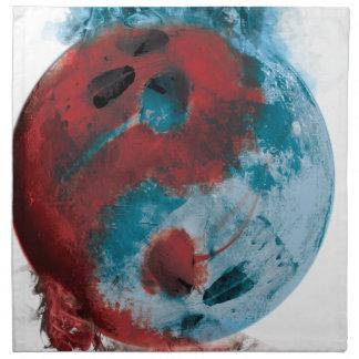 Wellcoda Yin Yang Skull Earth Planet Fire Napkin