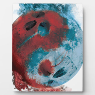 Wellcoda Yin Yang Skull Earth Planet Fire Photo Plaque