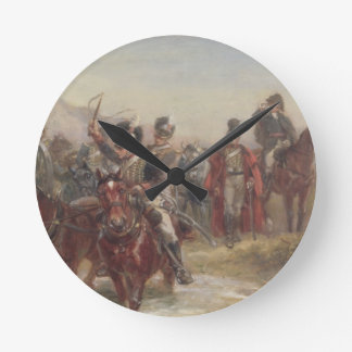 Wellington in Spain (oil on panel) (pair of 124470 Round Clock