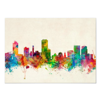 Wellington New Zealand Skyline 13 Cm X 18 Cm Invitation Card