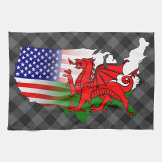 Welsh American Flags Map Tea Towel