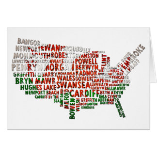 Welsh American US Map Greeting Cards