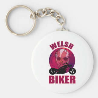 Welsh Biker Skull Chop Basic Round Button Key Ring