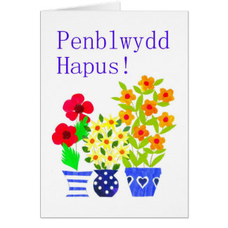 Welsh Birthday Card - Flower Power