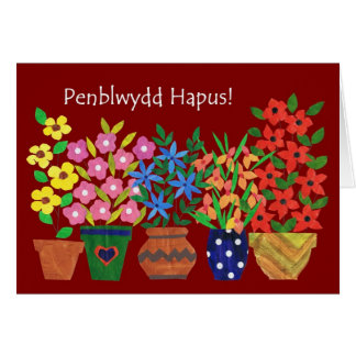Welsh Birthday Card - Flower Power!