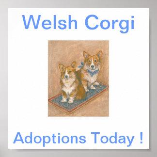 Welsh Corgi Adoptions Today Sign Poster