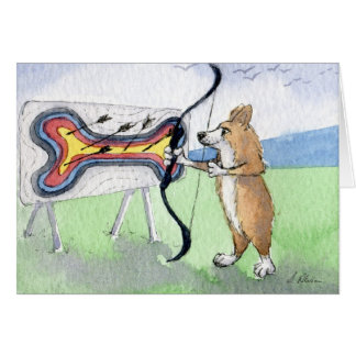Welsh Corgi dog archery Card