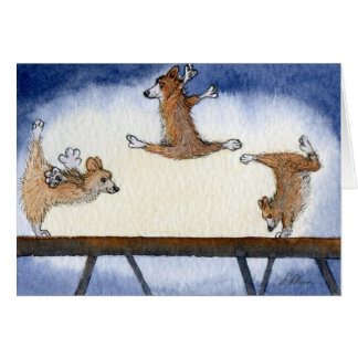 Welsh Corgi dog artistic gymnastics Card