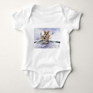 Welsh Corgi dog rowing Baby Bodysuit